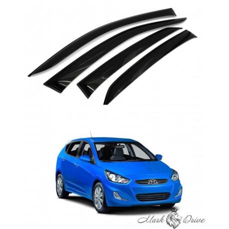 Дефлекторы окон для Hyundai Solaris х/б 5 дверей с 2011 г.